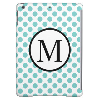 Simple Monogram with Aqua Polka Dots Cover For iPad Air