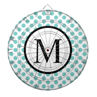Simple Monogram with Aqua Polka Dots Dartboard