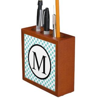 Simple Monogram with Aqua Polka Dots Desk Organizer