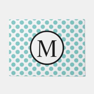 Simple Monogram with Aqua Polka Dots Doormat