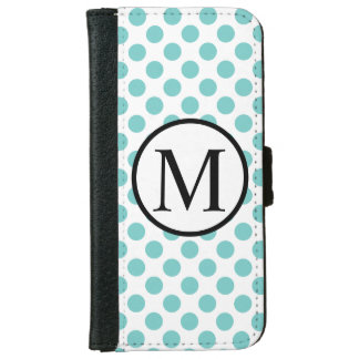 Simple Monogram with Aqua Polka Dots iPhone 6 Wallet Case