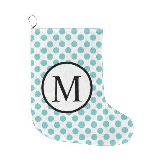 Simple Monogram with Aqua Polka Dots Large Christmas Stocking