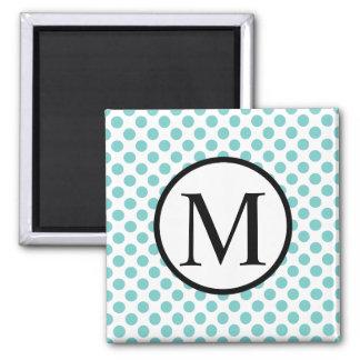 Simple Monogram with Aqua Polka Dots Magnet