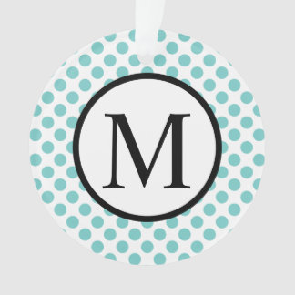 Simple Monogram with Aqua Polka Dots Ornament