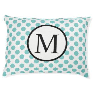 Simple Monogram with Aqua Polka Dots Pet Bed
