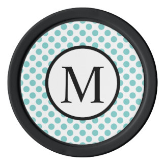 Simple Monogram with Aqua Polka Dots Poker Chips