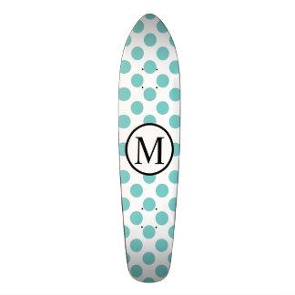 Simple Monogram with Aqua Polka Dots Skate Board