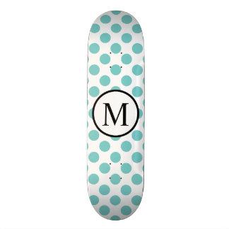 Simple Monogram with Aqua Polka Dots Skateboards