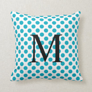 Simple Monogram with Aqua Polka Dots Throw Pillow