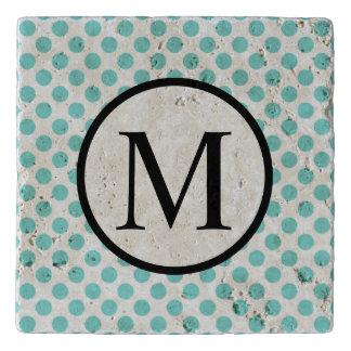 Simple Monogram with Aqua Polka Dots Trivet