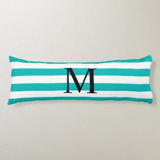 Simple Monogram with Aqua Stripes Body Pillow