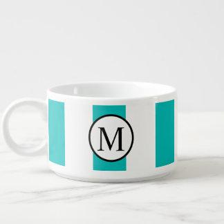Simple Monogram with Aqua Vertical Stripes Bowl