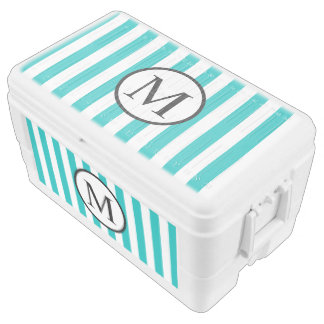 Simple Monogram with Aqua Vertical Stripes Cooler