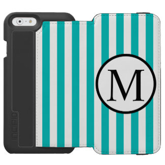 Simple Monogram with Aqua Vertical Stripes Incipio Watson™ iPhone 6 Wallet Case