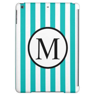 Simple Monogram with Aqua Vertical Stripes iPad Air Cases