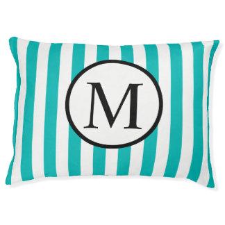Simple Monogram with Aqua Vertical Stripes Pet Bed