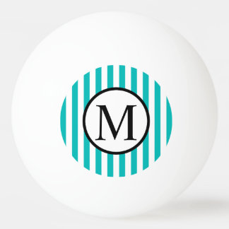 Simple Monogram with Aqua Vertical Stripes Ping Pong Ball