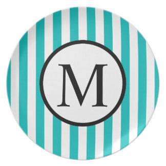 Simple Monogram with Aqua Vertical Stripes Plate