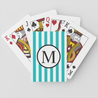 Simple Monogram with Aqua Vertical Stripes Playing Cards