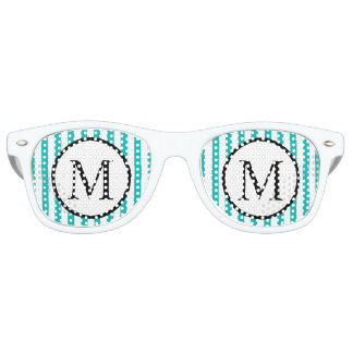 Simple Monogram with Aqua Vertical Stripes Retro Sunglasses