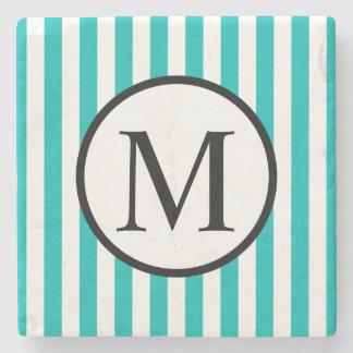 Simple Monogram with Aqua Vertical Stripes Stone Coaster