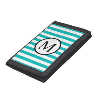 Simple Monogram with Aqua Vertical Stripes Tri-fold Wallet