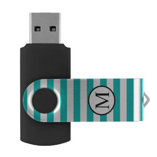 Simple Monogram with Aqua Vertical Stripes USB Flash Drive