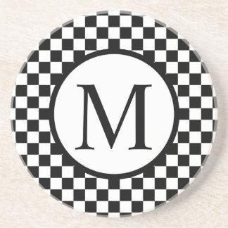 Simple Monogram with Black Checkerboard Coaster