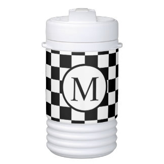 Simple Monogram with Black Checkerboard Drinks Cooler