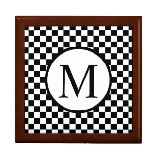 Simple Monogram with Black Checkerboard Gift Box