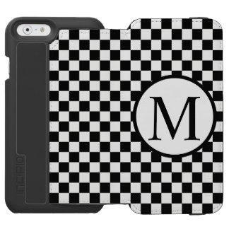 Simple Monogram with Black Checkerboard Incipio Watson™ iPhone 6 Wallet Case