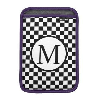 Simple Monogram with Black Checkerboard iPad Mini Sleeve