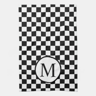 Simple Monogram with Black Checkerboard Kitchen Towel