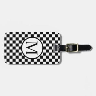 Simple Monogram with Black Checkerboard Luggage Tag