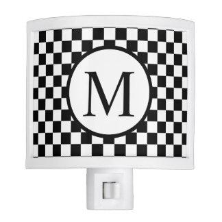 Simple Monogram with Black Checkerboard Nite Lites