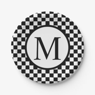 Simple Monogram with Black Checkerboard Paper Plate