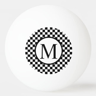 Simple Monogram with Black Checkerboard Ping Pong Ball