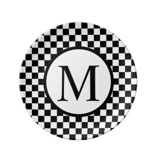 Simple Monogram with Black Checkerboard Plate