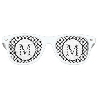 Simple Monogram with Black Checkerboard Retro Sunglasses