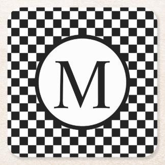 Simple Monogram with Black Checkerboard Square Paper Coaster