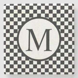 Simple Monogram with Black Checkerboard Stone Coaster