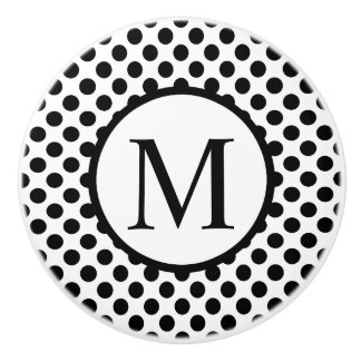 Simple Monogram with Black Polka Dots Ceramic Knob