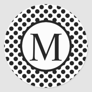 Simple Monogram with Black Polka Dots Classic Round Sticker