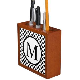 Simple Monogram with Black Polka Dots Desk Organizer