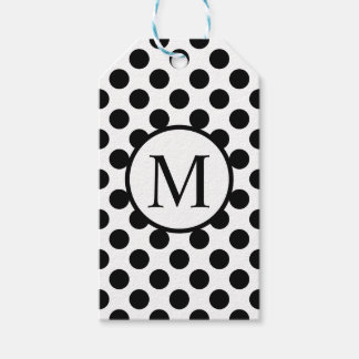 Simple Monogram with Black Polka Dots Gift Tags