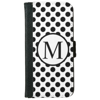 Simple Monogram with Black Polka Dots iPhone 6 Wallet Case