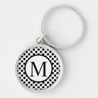 Simple Monogram with Black Polka Dots Keychain