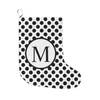 Simple Monogram with Black Polka Dots Large Christmas Stocking