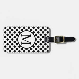 Simple Monogram with Black Polka Dots Luggage Tag