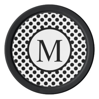 Simple Monogram with Black Polka Dots Poker Chips